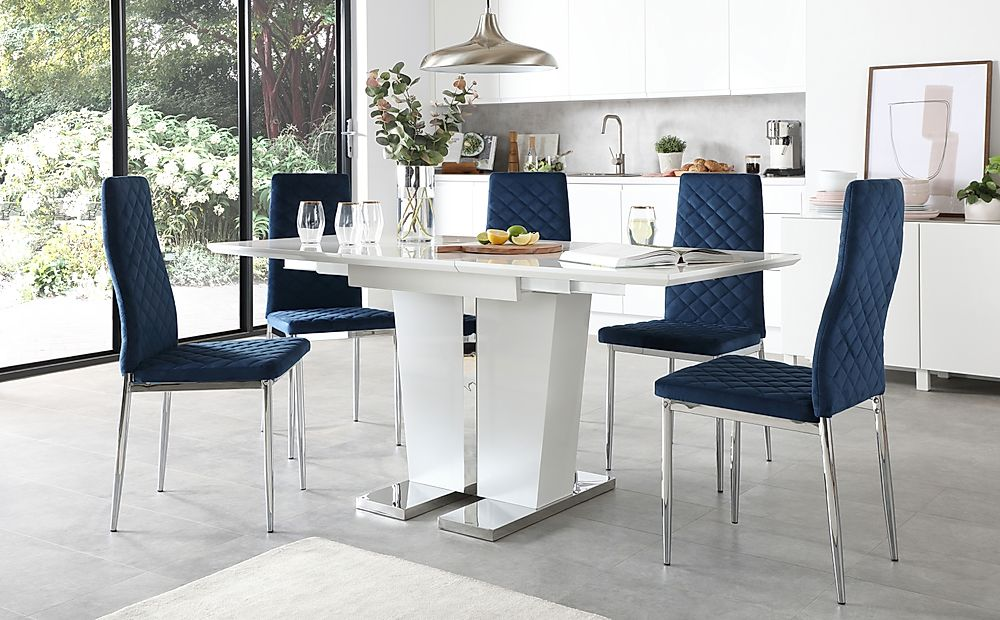 Vienna White High Gloss Extending Dining Table with 4 Renzo Blue Velvet Chairs