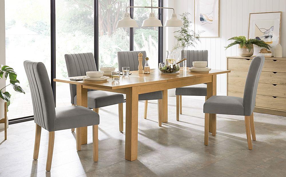Hamilton 150-200cm Oak Extending Dining Table with 4 Salisbury Grey Velvet Chairs
