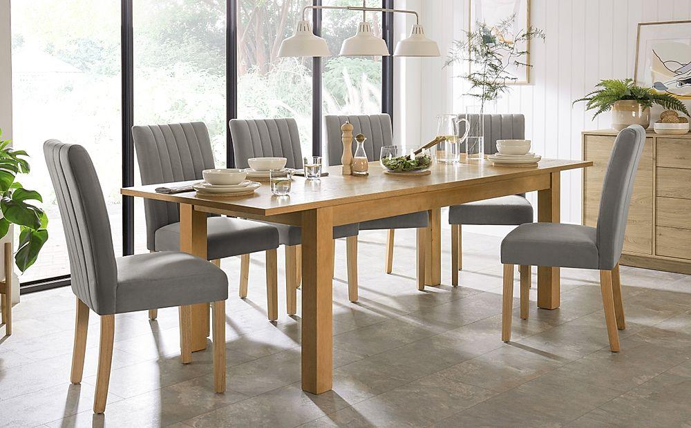 Hamilton 180-230cm Oak Extending Dining Table with 6 Salisbury Grey Velvet Chairs