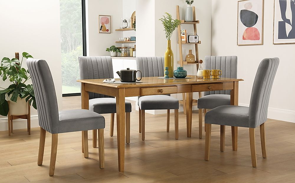 Wiltshire Oak Dining Table with Storage with 4 Salisbury Grey Velvet Chairs