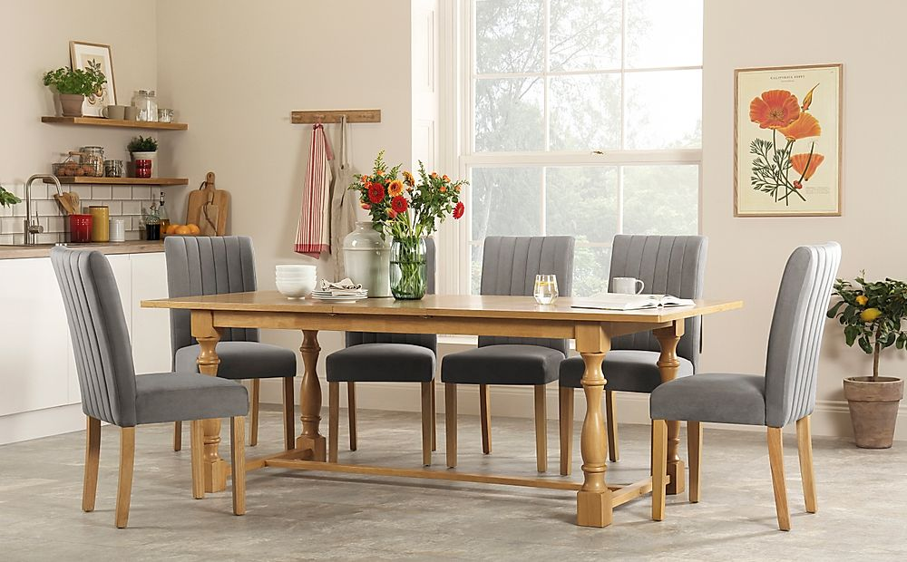 Devonshire Oak Extending Dining Table with 4 Salisbury Grey Velvet Chairs