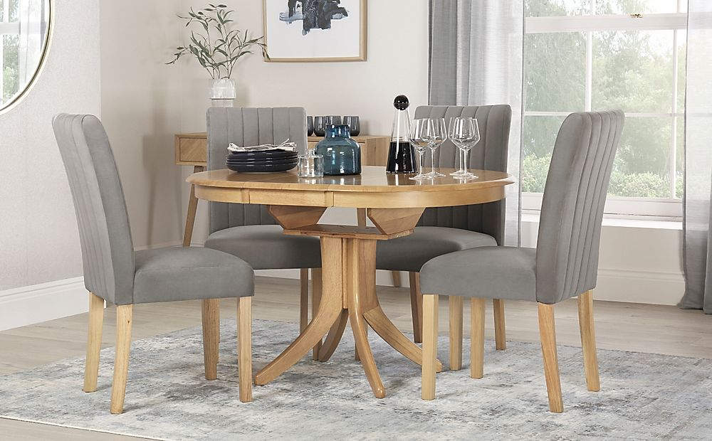 Hudson Round Oak Extending Dining Table with 6 Salisbury Grey Velvet Chairs