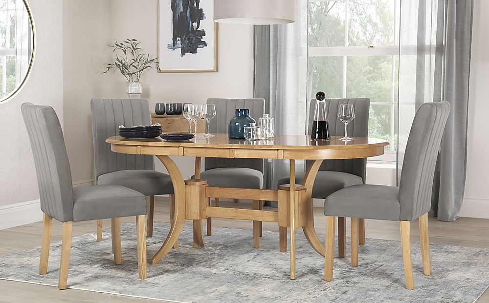Townhouse Oval Oak Extending Dining Table with 6 Salisbury Grey Velvet Chairs