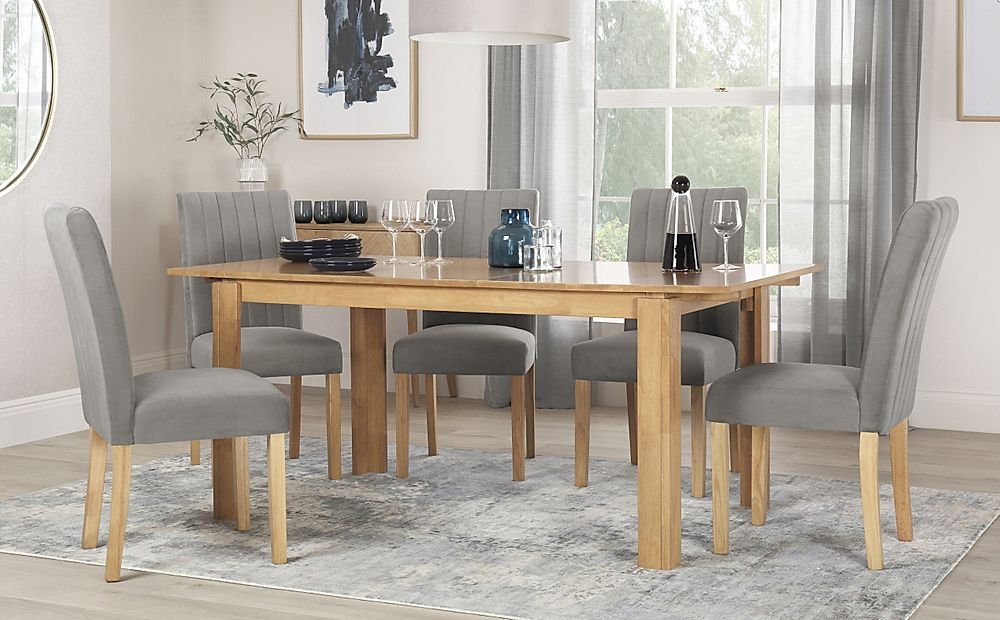 Bali Oak Extending Dining Table with 6 Salisbury Grey Velvet Chairs