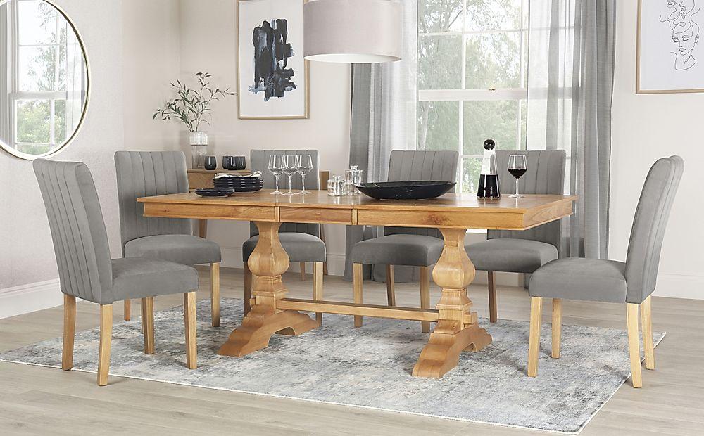 Cavendish Oak Extending Dining Table with 6 Salisbury Grey Velvet Chairs