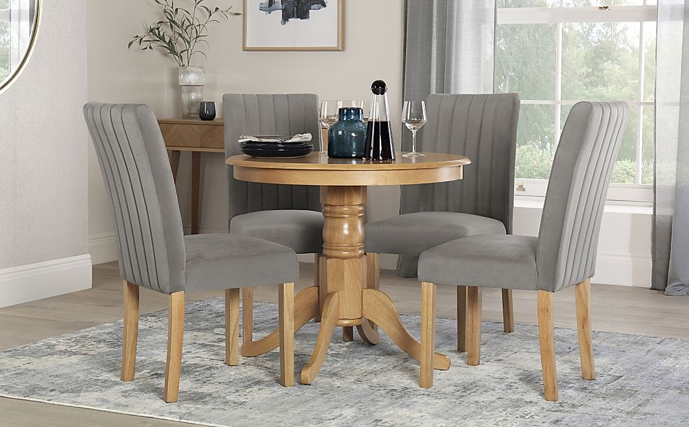 Kingston Round Oak Dining Table with 4 Salisbury Grey Velvet Chairs