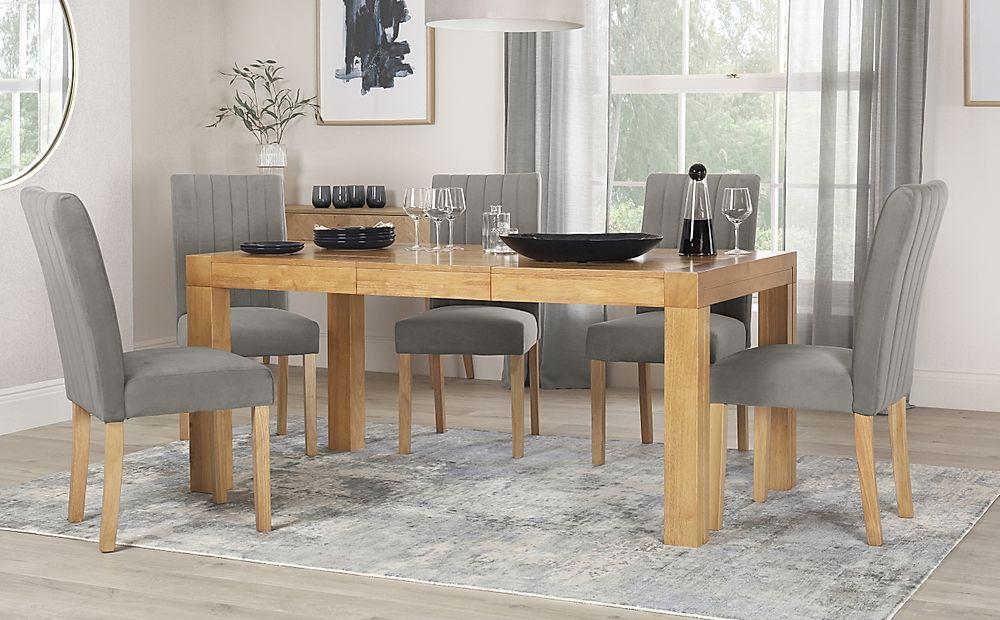 Cambridge 125-170cm Oak Extending Dining Table with 6 Salisbury Grey Velvet Chairs