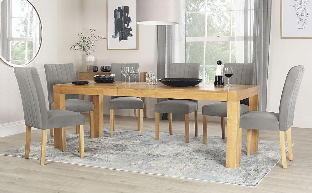 Cambridge 175-220cm Oak Extending Dining Table with 6 Salisbury Grey Velvet Chairs