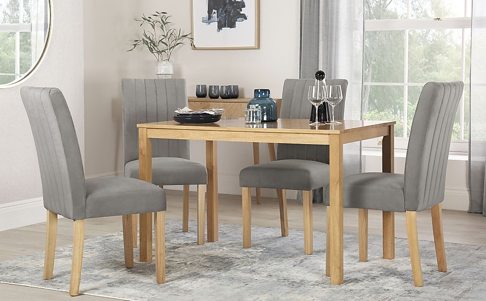 Milton Oak Dining Table with 6 Salisbury Grey Velvet Chairs
