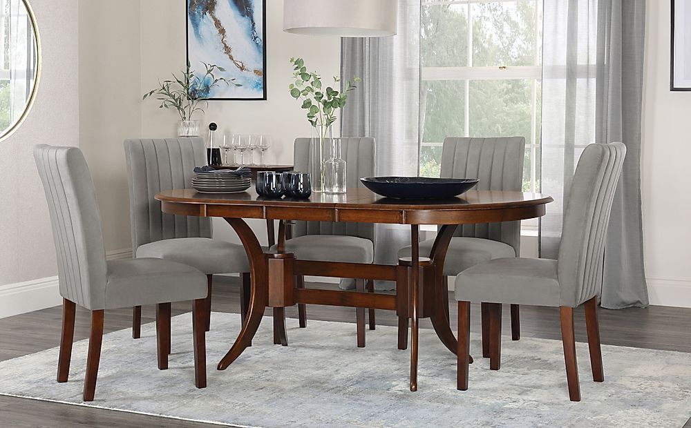Townhouse Oval Dark Wood Extending Dining Table with 4 Salisbury Grey Velvet Chairs