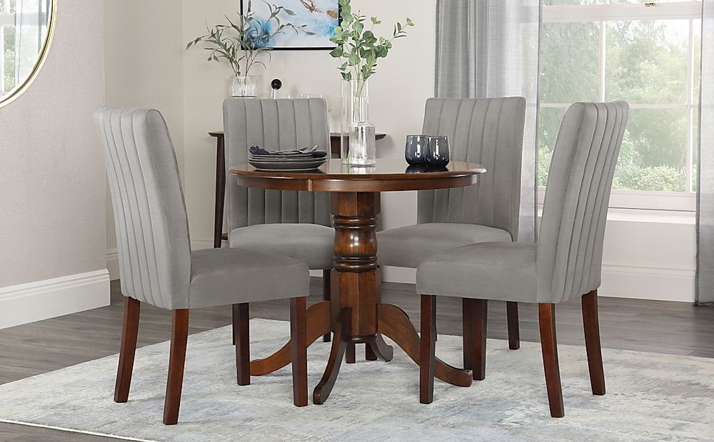 Kingston Round Dark Wood Dining Table with 4 Salisbury Grey Velvet Chairs