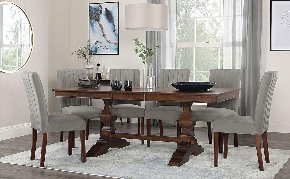 Cavendish Dark Wood Extending Dining Table with 6 Salisbury Grey Velvet Chairs
