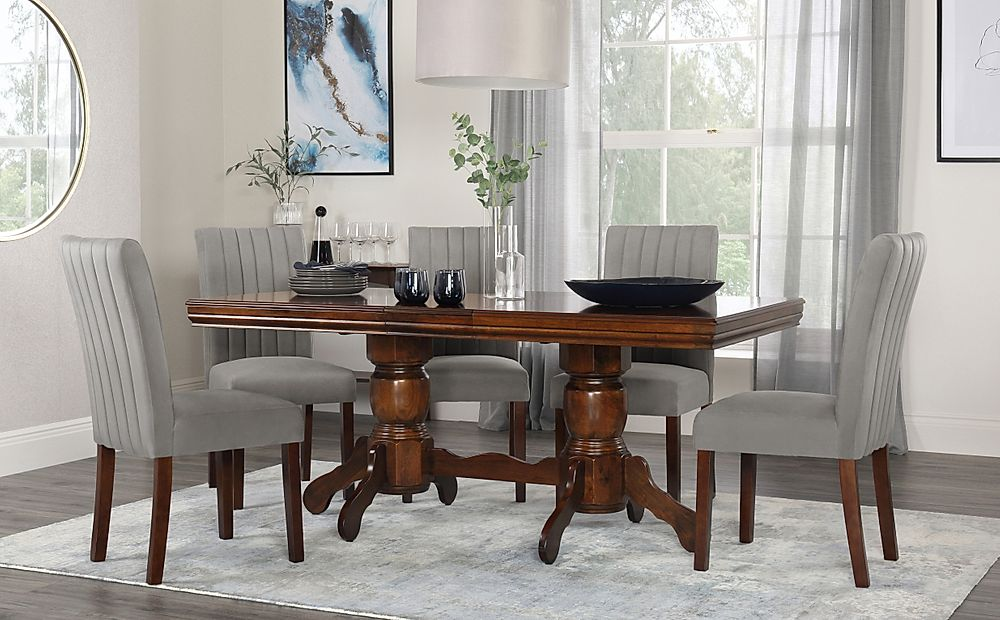 Chatsworth Dark Wood Extending Dining Table with 6 Salisbury Grey Velvet Chairs