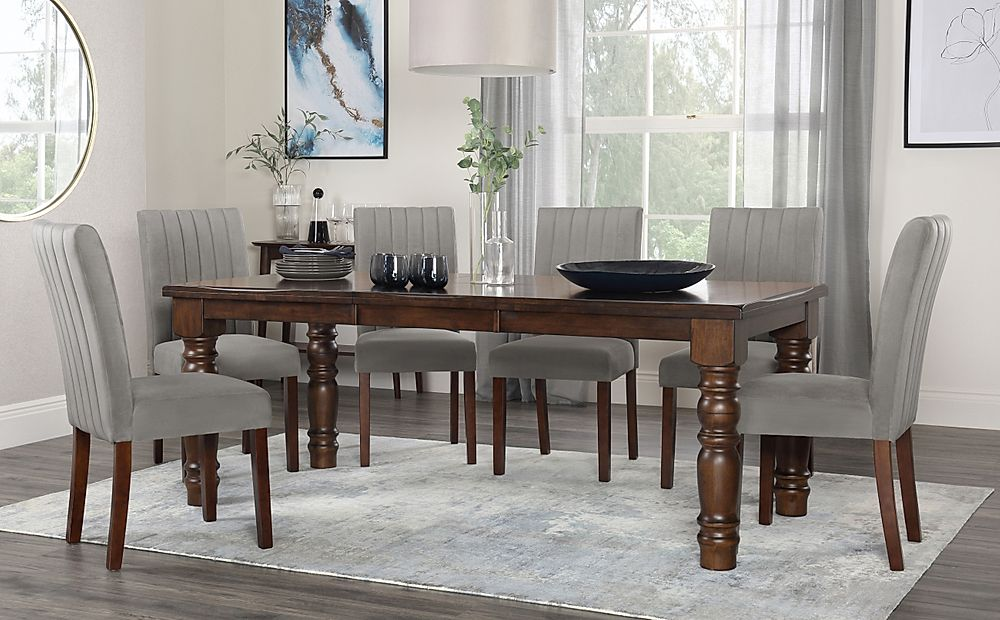 Hampshire Dark Wood Extending Dining Table with 6 Salisbury Grey Velvet Chairs