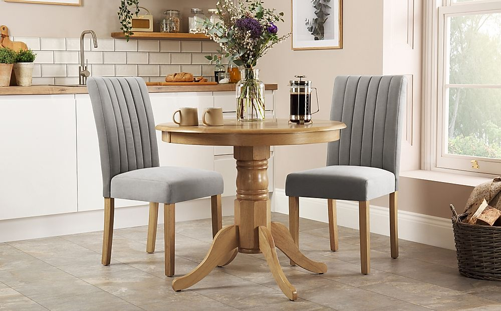 Kingston Round Oak Dining Table with 2 Salisbury Grey Velvet Chairs
