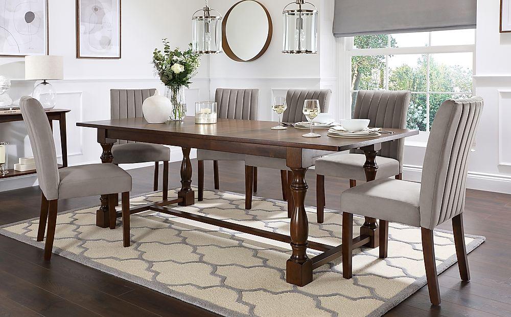 Devonshire Dark Wood Extending Dining Table with 6 Salisbury Grey Velvet Chairs