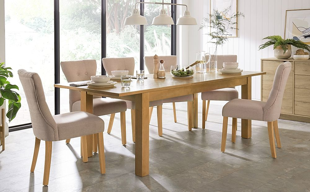 Hamilton 180-230cm Oak Extending Dining Table with 6 Bewley Oatmeal Fabric Chairs