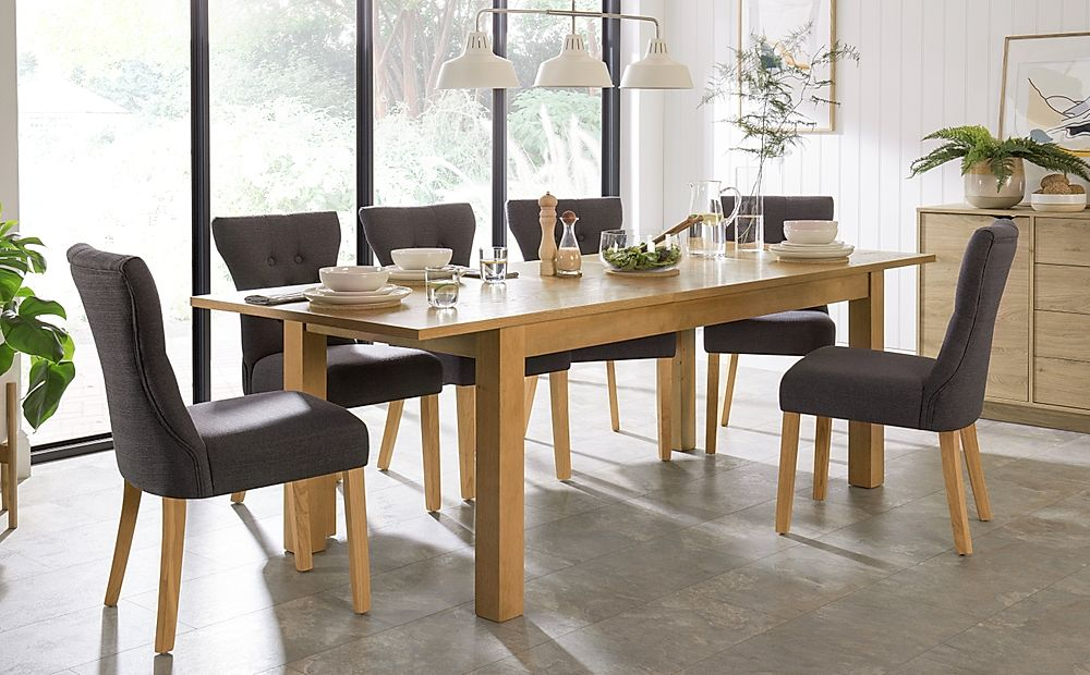Hamilton Oak 180-230cm Extending Dining Table with 4 Bewley Slate Fabric Chairs