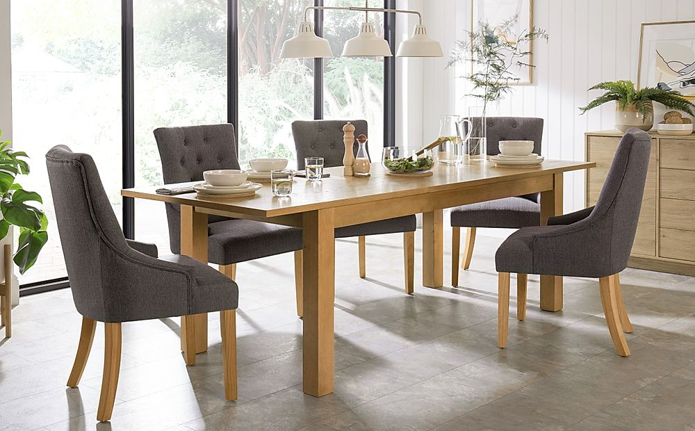 Hamilton Oak 180-230cm Extending Dining Table with 6 Duke Slate Fabric Chairs