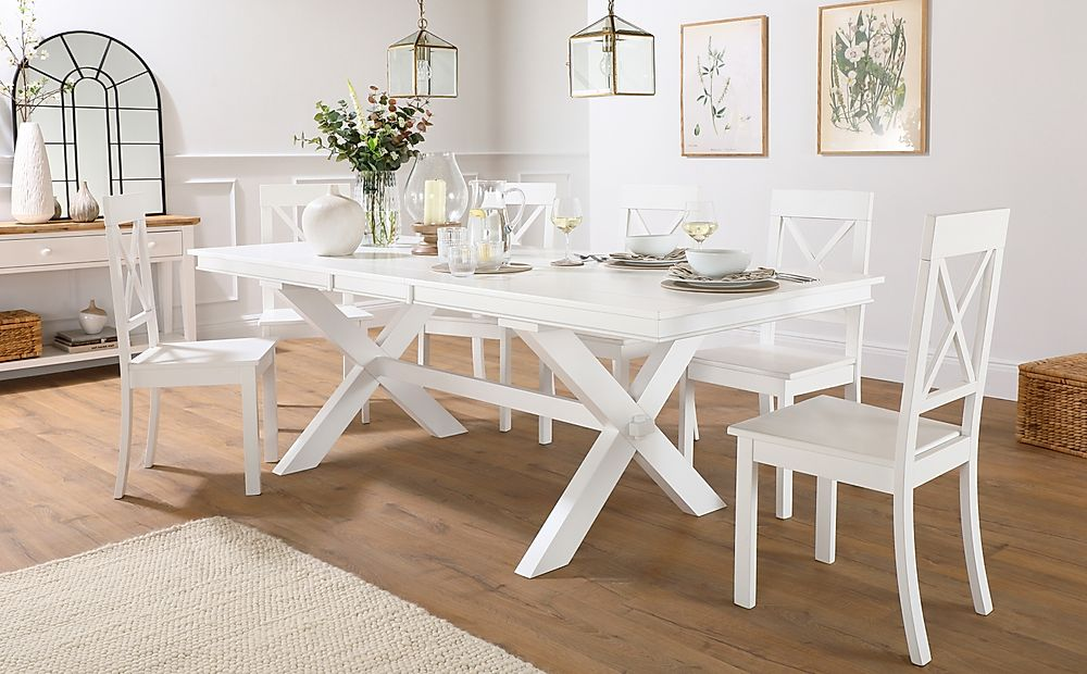 Grange White Extending Dining Table with 6 Kendal Chairs