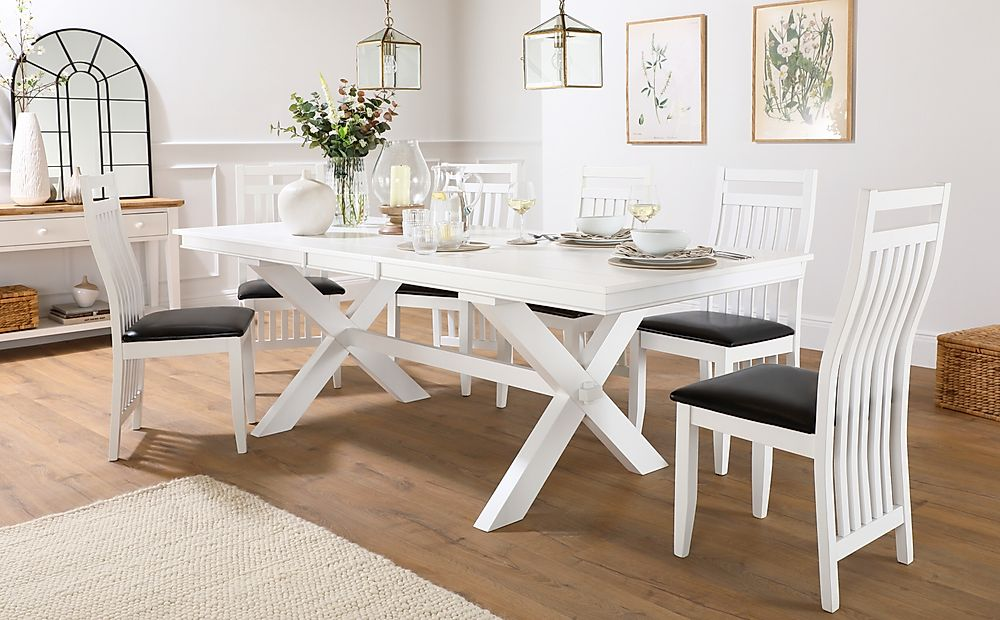 Grange White Extending Dining Table with 6 Java Chairs (Black Leather Seat Pads)