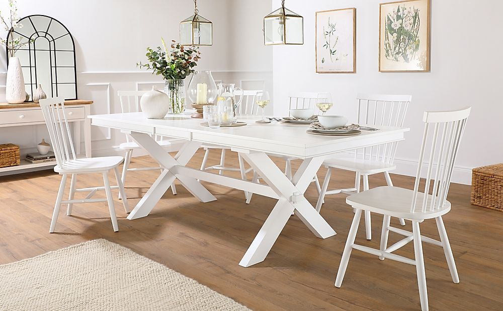 Grange White Extending Dining Table with 4 Pendle Chairs
