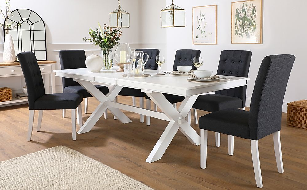 Grange White Extending Dining Table with 6 Regent Slate Fabric Chairs