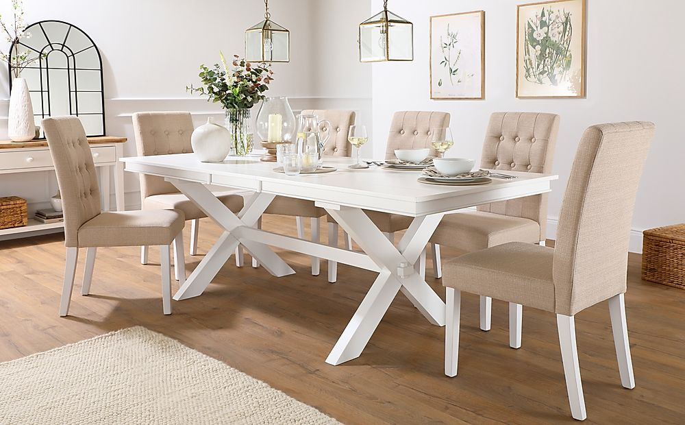 Grange White Extending Dining Table with 8 Regent Oatmeal Fabric Chairs