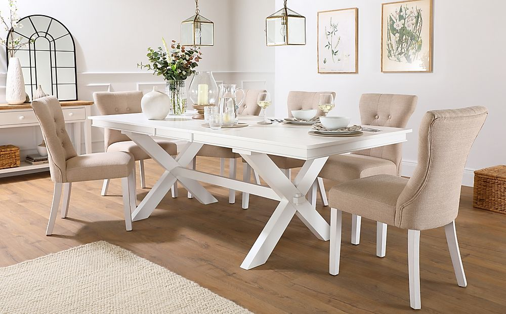 Grange White Extending Dining Table with 8 Bewley Oatmeal Fabric Chairs