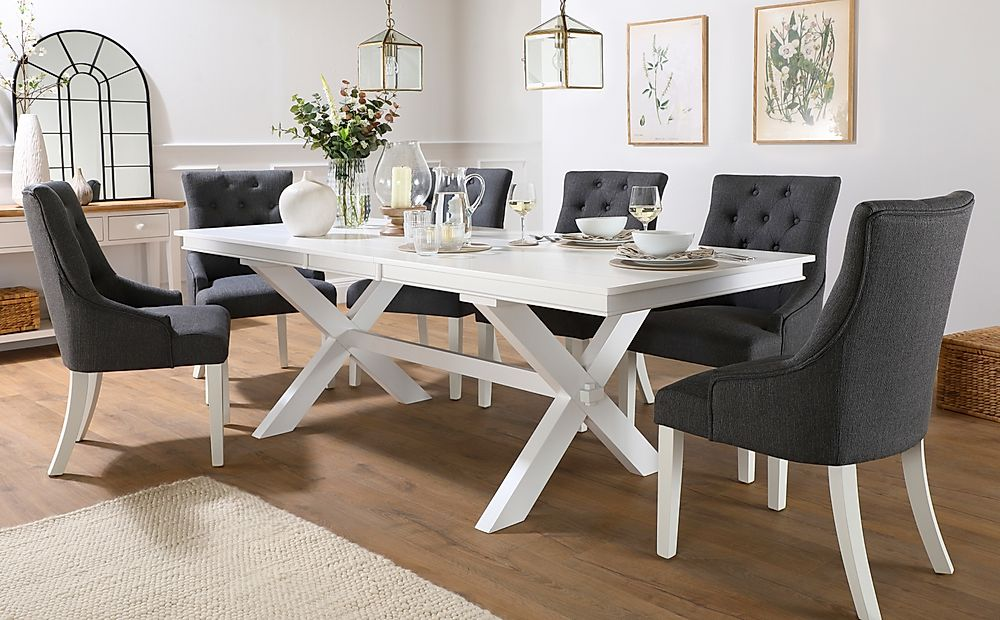 Grange White Extending Dining Table with 4 Duke Slate Fabric Chairs