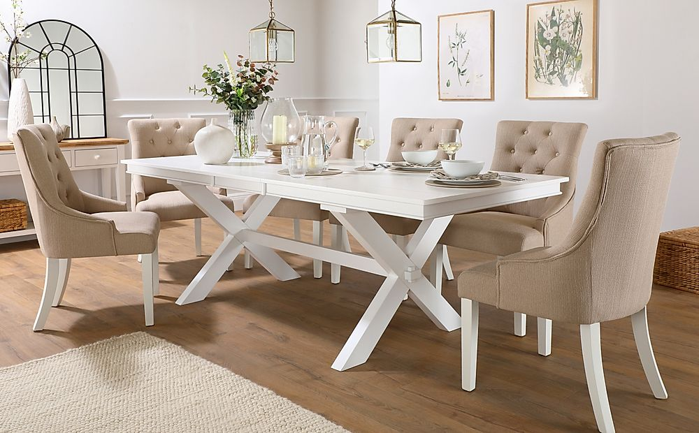 Grange White Extending Dining Table with 8 Duke Oatmeal Fabric Chairs