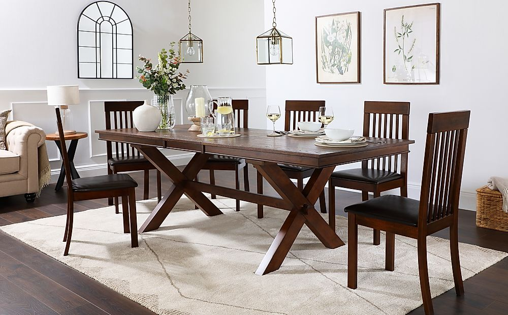 Grange Dark Wood Extending Dining Table with 6 Oxford Chairs (Brown Leather Seat Pads)
