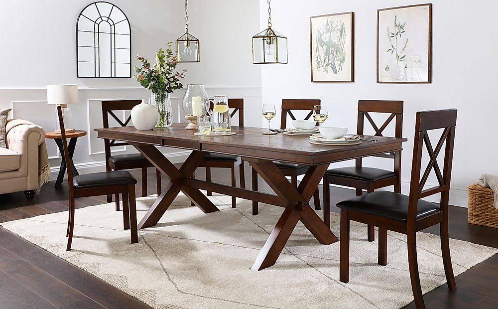 Grange Dark Wood Extending Dining Table with 6 Kendal Chairs (Brown Leather Seat Pads)