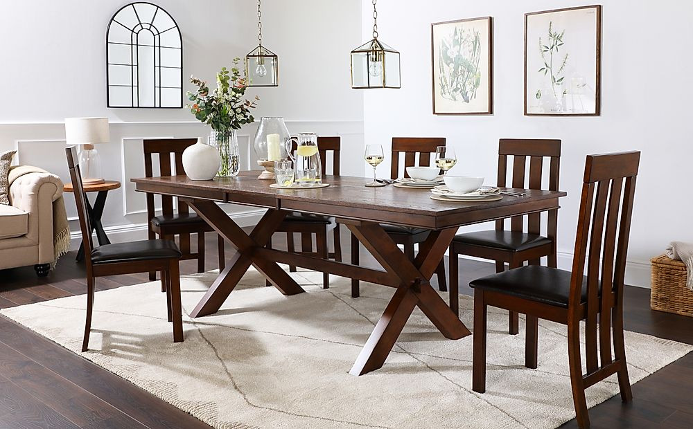 Grange Dark Wood Extending Dining Table with 6 Chester Chairs (Brown Leather Seat Pad)