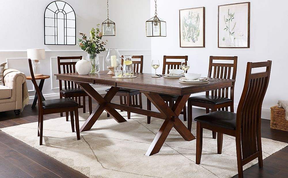 Grange Dark Wood Extending Dining Table with 6 Java Chairs (Brown Leather Seat Pads)