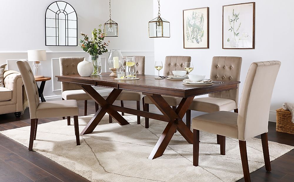 Grange Dark Wood Extending Dining Table with 8 Regent Mink Velvet Chairs