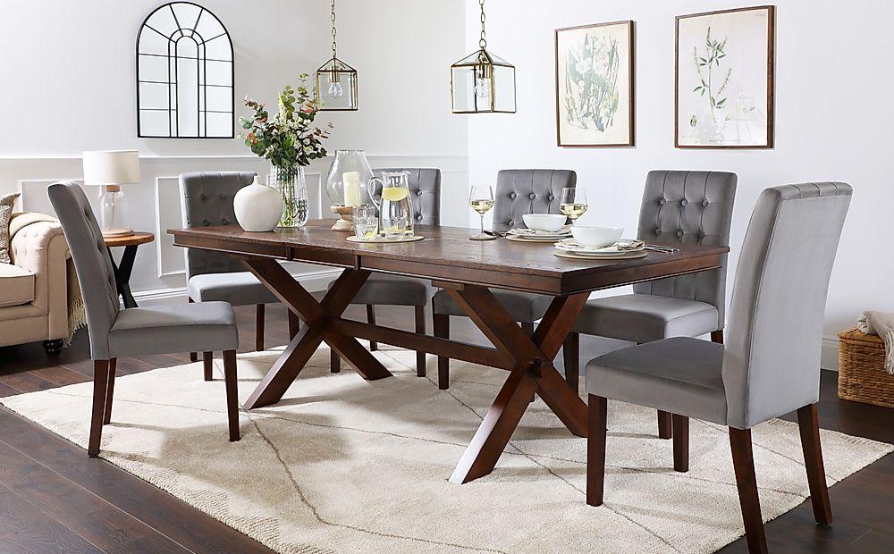 Grange Dark Wood Extending Dining Table with 6 Regent Grey Velvet Chairs