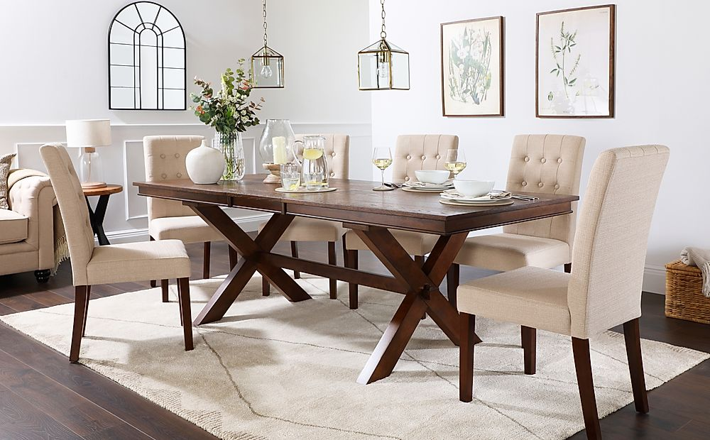 Grange Dark Wood Extending Dining Table with 8 Regent Oatmeal Fabric Chairs