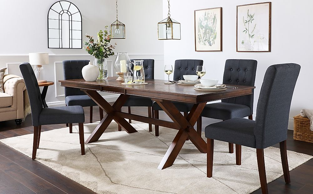 Grange Dark Wood Extending Dining Table with 8 Regent Slate Fabric Chairs