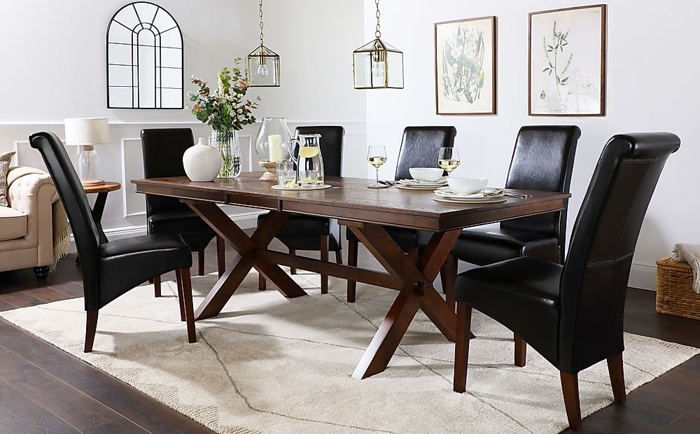 Grange Dark Wood Extending Dining Table with 6 Boston Brown Leather Chairs