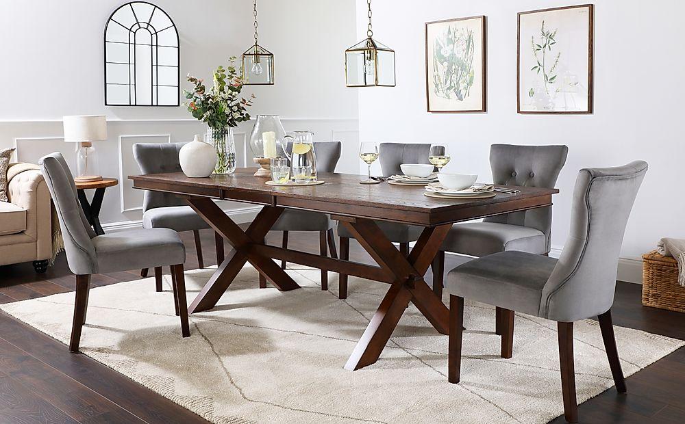 Grange Dark Wood Extending Dining Table with 4 Bewley Grey Velvet Chairs