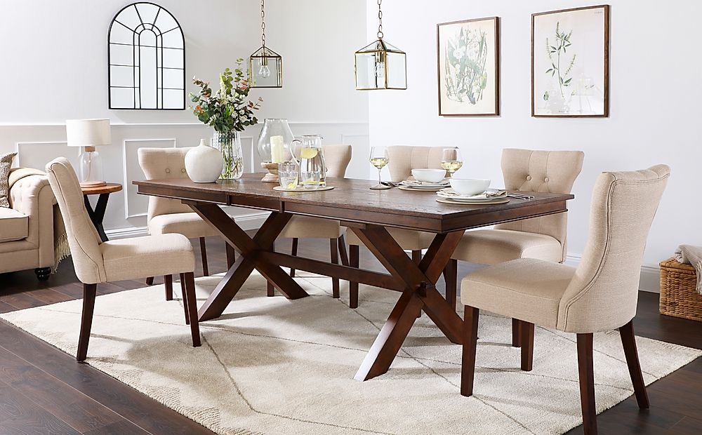 Grange Dark Wood Extending Dining Table with 8 Bewley Oatmeal Fabric Chairs
