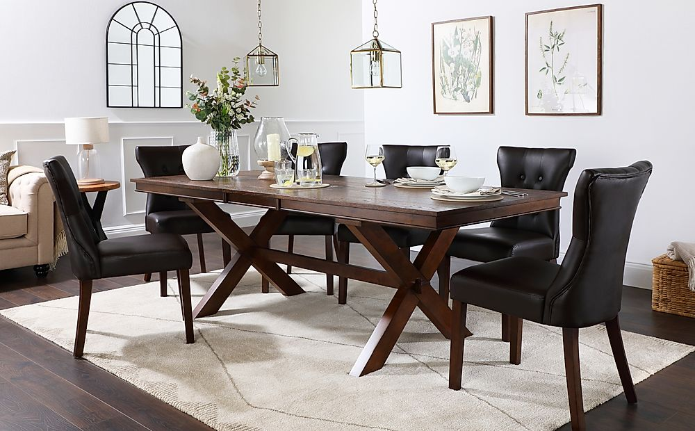 Grange Dark Wood Extending Dining Table with 6 Bewley Brown Leather Chairs