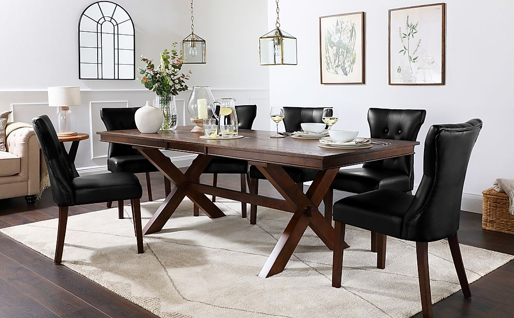 Grange Dark Wood Extending Dining Table with 8 Bewley Black Leather Chairs