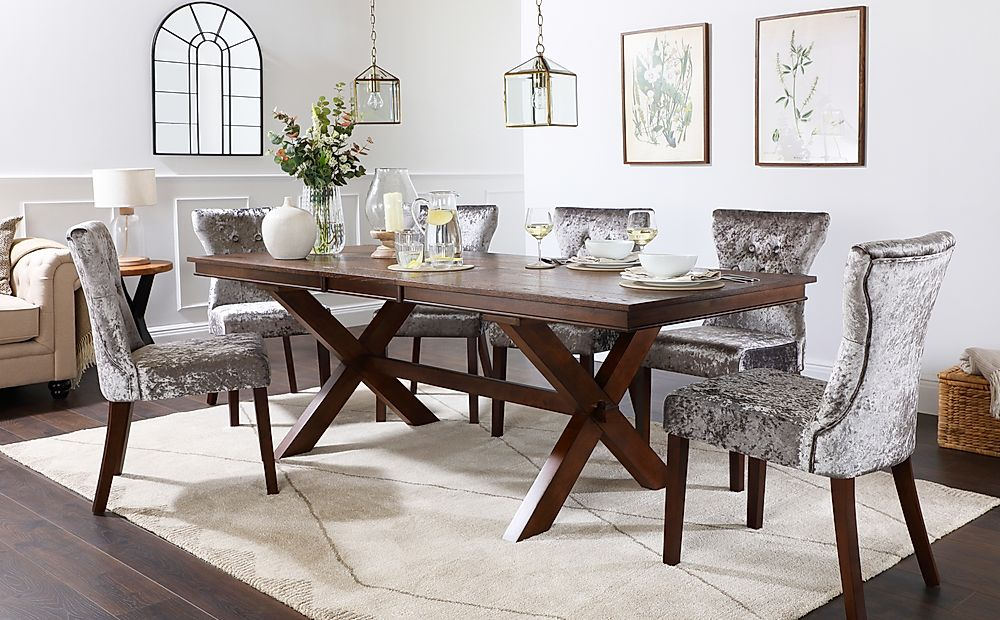 Grange Dark Wood Extending Dining Table with 8 Bewley Silver Velvet Chairs