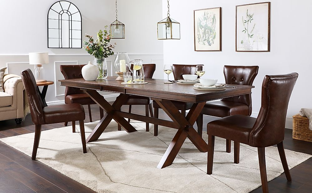 Grange Dark Wood Extending Dining Table with 4 Bewley Club Brown Leather Chairs