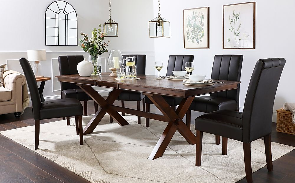 Grange Dark Wood Extending Dining Table with 6 Carrick Brown Leather Chairs