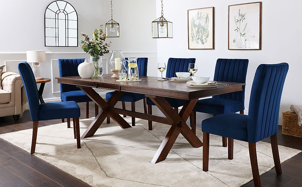 Grange Dark Wood Extending Dining Table with 4 Salisbury Blue Velvet Chairs