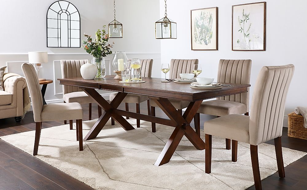 Grange Dark Wood Extending Dining Table with 6 Salisbury Mink Velvet Chairs