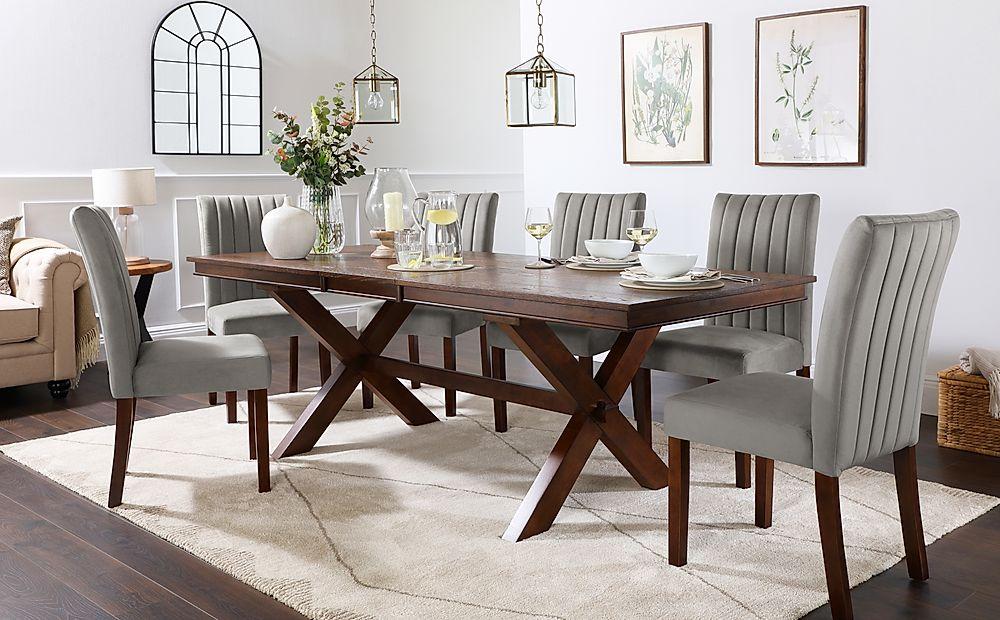 Grange Dark Wood Extending Dining Table with 8 Salisbury Grey Velvet Chairs